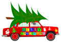 Christmas tree and car a with a on the roof on a white background Royalty Free Stock Photo