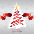 Christmas tree card with red ribbon Stock Image