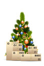 Christmas Tree with  Cardboard Boxes Royalty Free Stock Image