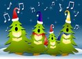 Christmas Tree Carolers Singing In Snow