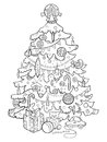 Christmas tree cartoon coloring book vector Royalty Free Stock Photo