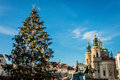 Christmas tree and The Church of St Nicholas, Prague, Czech Republic Royalty Free Stock Photo