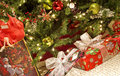 Christmas Tree Closeup with Presents Royalty Free Stock Photography