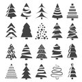 Christmas tree collection of icons logos for design vector illustration Royalty Free Stock Photos