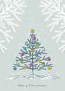 Christmas tree  on color background, vector Royalty Free Stock Photo