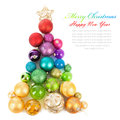 Christmas tree of colored balls isolated on white background Royalty Free Stock Images
