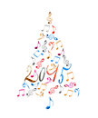2015 christmas tree with colorful metal musical notes Royalty Free Stock Photo