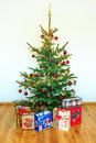 Christmas tree with colorful ornaments Royalty Free Stock Photo