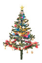 Christmas tree with colorful ornaments, Royalty Free Stock Photo