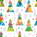 Christmas tree colorful seamless pattern stars snowflakes. New Year forest landscape sketch design wallpaper texture. Royalty Free Stock Photo