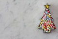 Christmas Tree Cookie Cutter with Sugar Pearls Royalty Free Stock Photo
