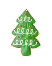 Christmas tree cookie isolated on white Royalty Free Stock Photo