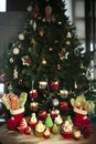 Christmas tree with cookies, cupcakes, balls, sweets, candy, ornaments