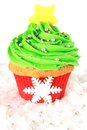 Christmas tree cupcake in red and green Stock Images