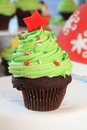 Christmas tree cupcake with red star Royalty Free Stock Photo