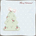 Christmas tree cute with cute bow Stock Images