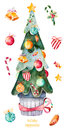 Christmas tree decorated with Christmas balls,candy,golden bells,candy anm more. Royalty Free Stock Photo