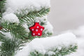 Christmas tree decorated with christmas decorations covered real snow Stock Photography