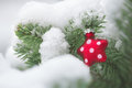 Christmas tree decorated with christmas decorations covered real snow Royalty Free Stock Images