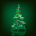 Christmas tree decorated with colored balls,  isolated Royalty Free Stock Photo