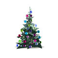 Christmas tree decorated with colored balls, vector isolated Royalty Free Stock Photo