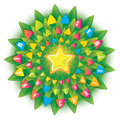 Christmas tree decorated with flags. The star at the top. Top view. The circular composition. The original new concept for gift pa