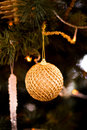 Christmas tree decorated with garlands, ball , sweet and Christmas lights on the background of beautiful bokeh