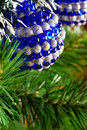 Christmas tree decorated with shiny balls Stock Photo
