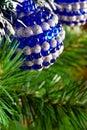 Christmas tree decorated with shiny balls Stock Photo