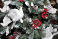 Christmas Tree Decorated with Snow & White Doves Royalty Free Stock Photos
