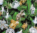 Christmas Tree Decorated with White Ballet Dancers Stock Images