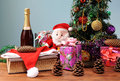 Christmas tree decorated with wine Royalty Free Stock Photo