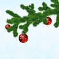 Christmas-tree and decoration ball. EPS 8 Stock Photography