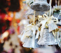 Christmas tree decoration bell with ribbon funny white Stock Photography