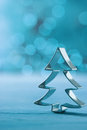Christmas tree decoration on a cool winter blue Royalty Free Stock Photo