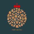 Christmas tree decoration. Cute winter holidays card. Royalty Free Stock Photo