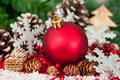 Christmas tree decoration on a fir Stock Image