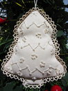 Christmas tree decoration handmade embroidered Royalty Free Stock Image