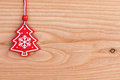 Christmas tree decoration over wooden background with free space for text Stock Photography