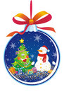 Christmas tree decoration with snowman Royalty Free Stock Photo