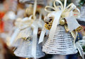 Christmas tree decoration white bell with ribbon funny Stock Photography