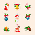 Christmas Tree Decorations. Bright Vector Icon Set Royalty Free Stock Photo