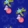 Christmas tree decorations on the deep blue background Royalty Free Stock Photos