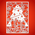 Christmas tree with decorations. Laser Cutting template. Royalty Free Stock Photo