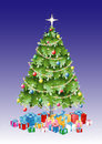 Christmas tree with decorations and presents vector illustration of lights Royalty Free Stock Photo