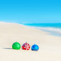 Christmas tree decorations on sea coast - new years holiday in h Royalty Free Stock Photo