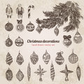 Christmas tree decorations set handdrawn style template Royalty Free Stock Photo