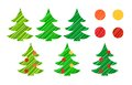 Christmas tree and decorations vector set eps of colorful stylized new year trees Stock Photos