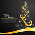 Christmas tree on decorative black background this is file of eps format Royalty Free Stock Image