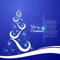 Christmas tree on decorative blue background this is file of eps format Royalty Free Stock Images